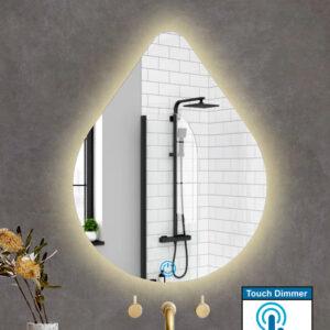 Καθρέπτης μπάνιου με φωτισμό led σε σχήμα σταγόνας και διακόπτη αφής on/off με dimmer.