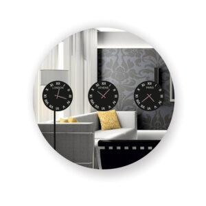 Ρολόι τοίχου στρογγυλός καθρέπτης με τρία ρολόγια Λονδίνο Αθήνα Παρίσι
