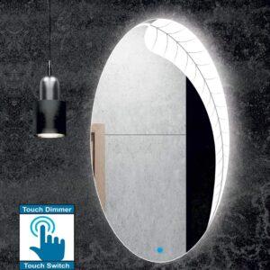 Καθρέπτης μπάνιου οβάλ με led φωτισμό, σε σχέδιο αμμοβολής φύλλο και διακόπτη on/off με τεχνολογία αφής με dimmer.