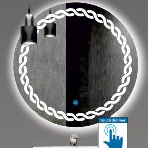 Καθρέπτης μπάνιου στρογγυλός με σχέδιο αμμοβολής περιμετρικά και led φωτισμό με διακόπτη on/off με τεχνολογία αφής με dimmer