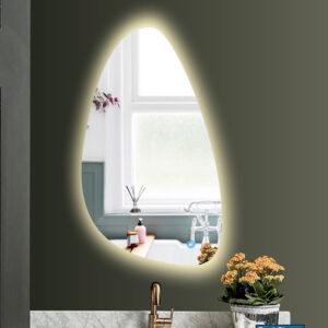 Καθρέπτης μπάνιου με led φωτισμό και διακόπτη on/off με τεχνολογία αφής με dimmer σε σχήμα βότσαλο.