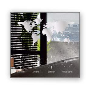 Ρολόι τοίχου με καθρέπτη 105 x 105 εκ. σε σχέδιο αμμοβολής χάρτης και τέσσερα ρολόγια με μηχανισμό ακριβείας σε πόλεις και κορνίζα αλουμινίου. Νέα Υόρκη, Αθήνα, Λονδίνο, Χονγκ Κονγκ.