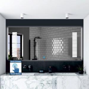 Καθρέπτης μπάνιου κρεμαστός ορθογώνιος παραλληλόγραμμος, με σχέδιο αμμοβολής και διακόπτη οn/off αφής με dimmer.