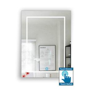 Καθρέπτης μπάνιου κρεμαστός, με σχέδιο αμμοβολής, ορθογώνιος, με led φωτισμό περιμετρικά και τεχνολογία διακόπτη on/off αφής με dimmer.