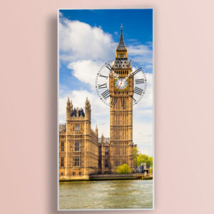 Ρολόι τοίχου BigBen με τεχνολογία ψηφιακής εκτύπωσης σε γυαλί, κορνίζα αλουμινίου και μηχανισμό ρολογιού ακριβείας