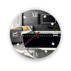 Ρολόι τοίχου καθρέπτης στρογγυλός αμμοβολή με led φωτισμό και μηχανισμό ρολογιού ακριβείας