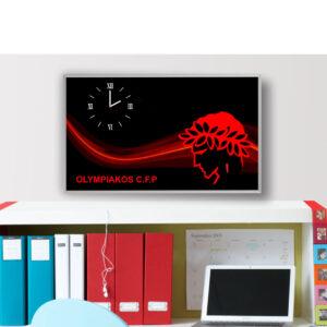 Ρολόι τοίχου Ολυμπιακός 90εκ. x 50εκ. με τεχνολογία ψηφιακής εκτύπωσης σε κορνίζα αλουμινίου και μηχανισμό ρολογιού ακριβείας