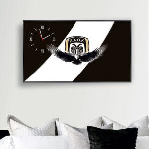 Ρολόι τοίχου 90εκ. x 50εκ. με τεχνολογία ψηφιακής εκτύπωσης σε κορνίζα αλουμινίου μαύρη και μηχανισμό ρολογιού ακριβείας ομάδα ΠΑΟΚ