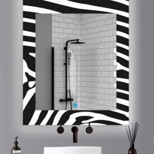 Καθρέπτης μπάνιου κρεμαστός στρογγυλός με τεχνολογία ψηφιακής εκτύπωσης σε σχέδιο zebra ανθεκτική στις γρατζουνιές και την υγρασία. Διαθέτει διακόπτη on/off αφής με dimmer. Δυνατότητα επιλογής διαστάσεων και χρώματος φωτισμού θερμού ή ψυχρού σύμφωνα με το χώρο σας.