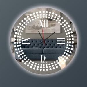 Ρολόι τοίχου στρογγυλό με καθρέπτη led φωτισμό και σχέδιο αμμοβολής