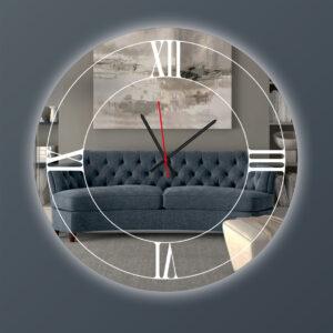 Ρολόι τοίχου στρογγυλός με καθρέπτη led φωτισμό και μηχανισμό ακριβείας.