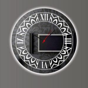 Ρολόι τοίχου καθρέπτης στρογγυλός με Led και σχέδιο αμμοβολής περιμετρικά με λατινικούς αριθμούς